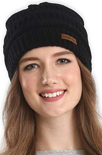 Brook + Bay Cable Knit Multicolored Beanie Stay Warm & Stylish This Winter - Thick, Soft & Chunky Beanie Hats for Women & Men - Serious Beanies for Serious Style (Black)
