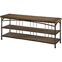 Furniture of America Stenson Industrial TV Console, 60-Inch, Natural Finish