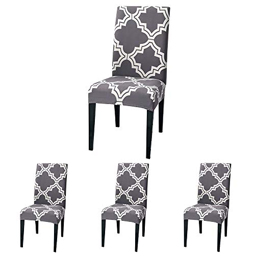 (ColorBird Moroccan Series Spandex Dining Chair Slipcovers Removable Universal Stretch Chair Protective Covers for Dining Room, Hotel, Banquet, Ceremony (Set of 4, Gray))