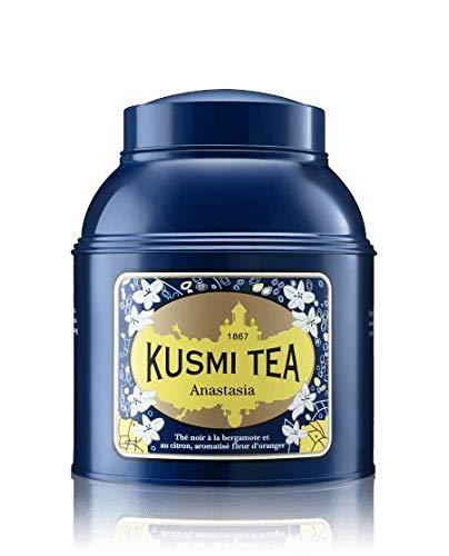 - Kusmi Tea Anastasia Lacquered Metal Tin Black Tea - Combination of Bergamot, Lemon, Lime, and Orange Blossom Essential Oils Perfect for Iced Tea (17.6oz Tin 200 Servings)
