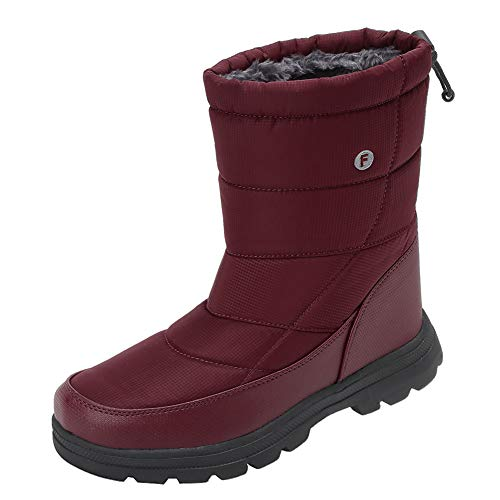 Men and Women's Waterproof Snow Boot Drawstring Cold Weather Boot, T.wine-40