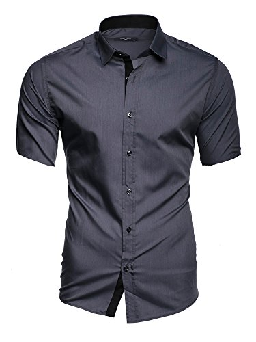 Slim 6xl Manches Chemise Kayhan Courtes Grey Repassage Modell Facile S Hawaii Florida Homme Coupe Coton Fit fq1Fw