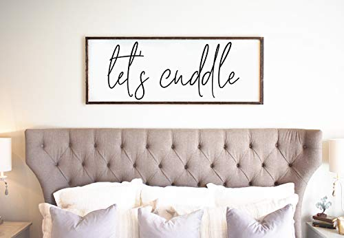 CELYCASY for Her Let's Cuddle Wedding Gift Living Room Wall Decor Modern Farmhouse Decor Let's Snuggle Over The Bed (Bed Decor Over The)