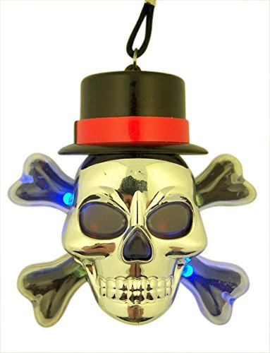 Multi-Color Flashing Light Large Acrylic Skull with Hat Necklace, 3 1/4 -