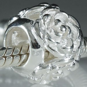 (Soulbeads Rose Flower Charm .925 Sterling Silver Charms Fits European Charms Bracelets,Mothers Day)