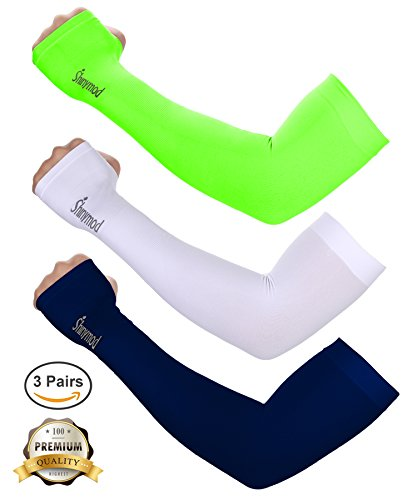 Shinymod UV Protection Cooling Arm Sleeves for Men Women Sunblock Cooler Protective Sports Gloves Running Golf Cycling Basketball Driving Fishing Long Arm Cover Sleeves (Navy+Neon - Arm Coolers
