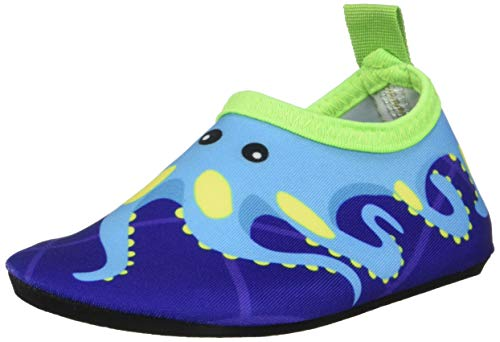 Bigib Toddler Kids Swim Water Shoes Quick Dry, Blue Octopus, Size Toddler 5.0
