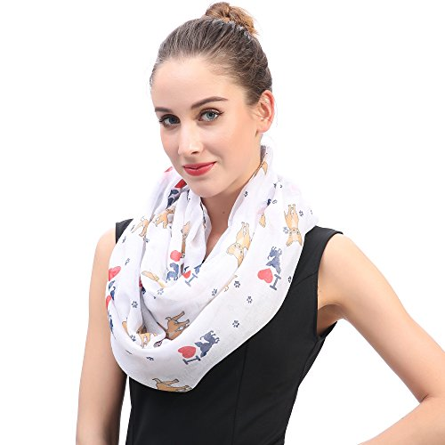 Lina & Lily I Love Chihuahua Dog Print Infinity Loop Scarf for Women (White) by Lina & Lily (Image #1)