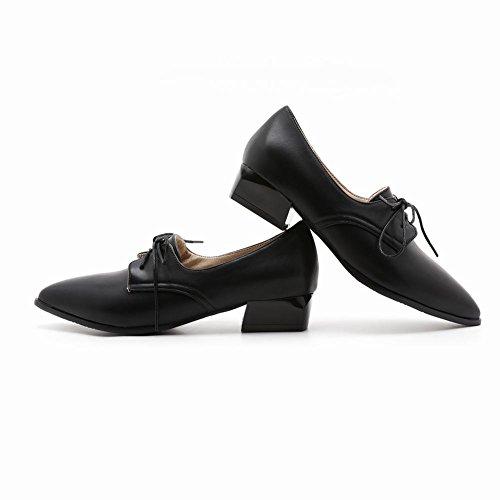 Show Shine Lacets Décontractés Pour Femmes Point Toe Oxfords Chaussures Noir
