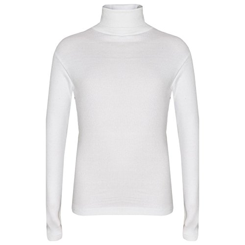 Kids Girls Polo Neck T Shirt Thick Cotton Turtleneck Jumper Long Sleeve Top ()