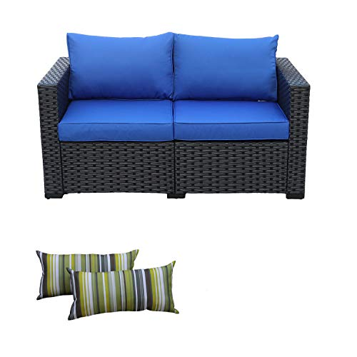 Patio PE Wicker Sofa Outdoor Garden Love Seat Chair Couch Furniture Black Rattan with Blue Cushion (Ottoman Near Me)
