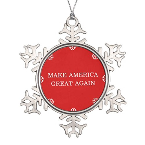 Xmas Christmas Tree decoration Snowflake Ornaments President Donald Trump Make America Great Again Snowflake Pewter Christmas Ornament (Again Ornament)