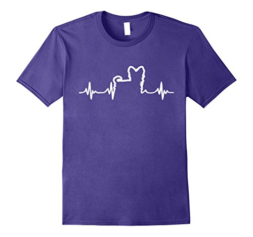 Mens Yorkshire Terrier Heartbeat Shirt, dog Lifeline Tees Large Purple Yorkshire Terriers Life