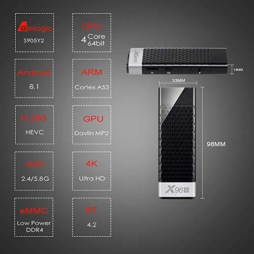 acemax X96S Smart TV Stick Android 8 1 Oreo Amlogic Quad Core 64bit DDR4  4GB RAM 32GB eMMC ROM 4K UHD USB3 0 Dual WiFi 2 4G 5 8G Bluetooth