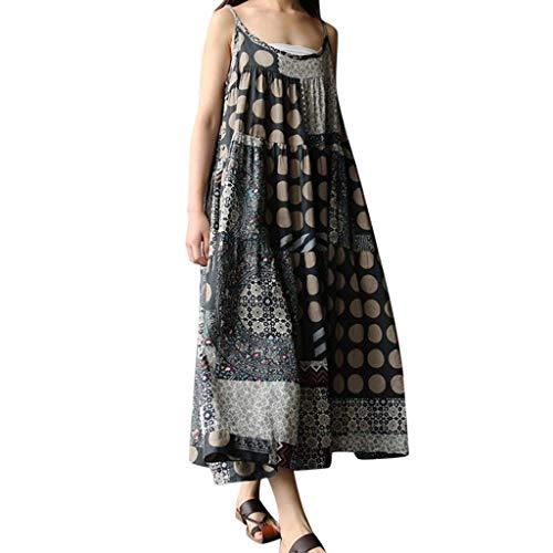 Skirt Sunrise (FRENDLY Women Summer Skirt Cotton Linen Strappy Loose Dress Bohe Maxi Print Long Dress Plus Size Casual T Shirt Dress Gray)