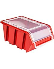 10 x stapelbox stapelkisten sorteerbox box met deksel 100x155x70 rood