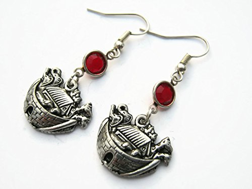 Noahs Ark Birthstone Earrings, Old Testament Bible Earrings, Personalized Pewter Earrings, Religious Gift