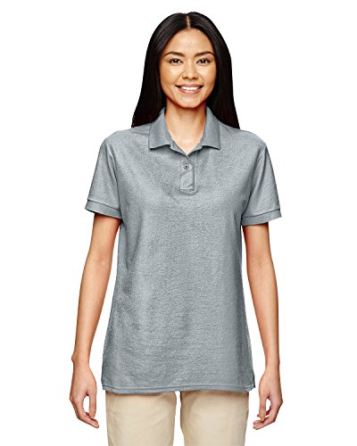 Gildan Women's Moisture Wicking Bottom Hem Pique Polo Shirt, Sport Grey, X-Large