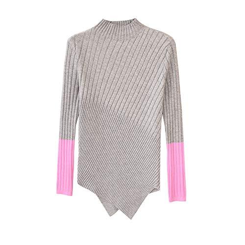 Dabuwawa Turtleneck Splicing Knit Sweater Contrast Color Slim Fit Pullovers Top from Dabuwawa