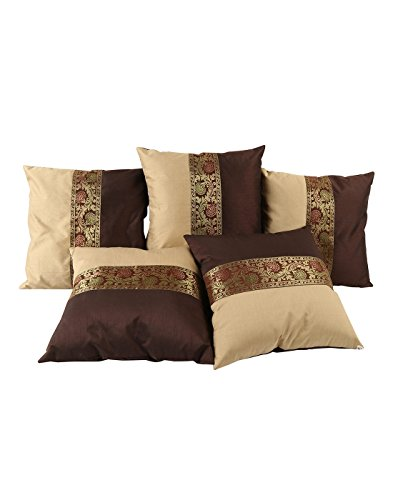 Rajasthani Bed Room Decor Brown Pillow - Brocade Polyster 16 X 16 Throw Pillows Traditional Designs Single Cushion Covers Lace Work Floral Shams - Brocade Cushion