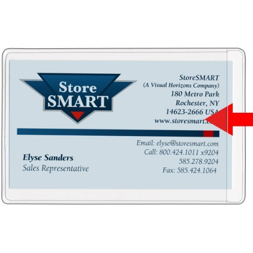 StoreSMART® - Business Card Holders - Non-Adhesive - Vinyl Plastic - Open Short Side - 10 Pack - (Free Vinyl Holder)