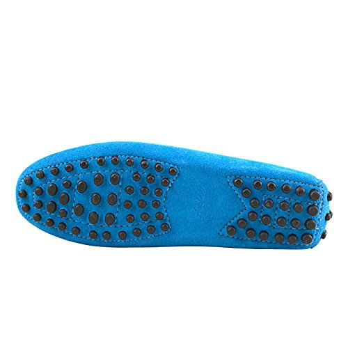 D7062 Casual Damen Slipper Metallschnallen Hellblau Mokassins Sommer Leder mit Schuhe Shenduo xOqznaFYwF