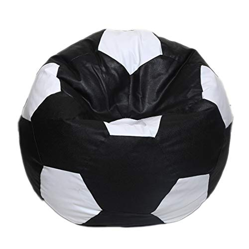 Maruti Fun Bags Leather Football Shape Bean Bag Cover Without Beans, XL  Black and White