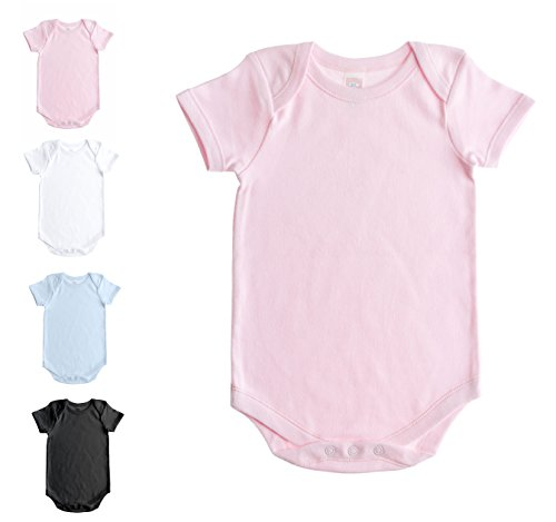 Soft Cotton Onesies, Short Sleeve Lap Shoulder Bodysuit, WSSE Pink 0-3 1-Pack (Onesie Pink Short Sleeve)