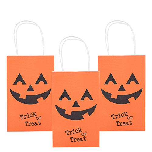 MISS FANTASY Halloween Trick or Treat Bags Pumpkin Candy Bags Jack O Lantern Loot Bags Halloween Costume Party Goodie Bags for Kids Pack of 12 (Orange -
