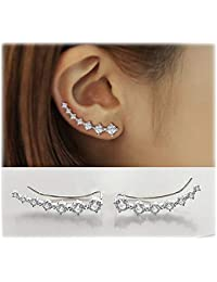 7 Crystals Ear Cuffs Hoop Climber S925 Sterling Silver Earrings Hypoallergenic Earring
