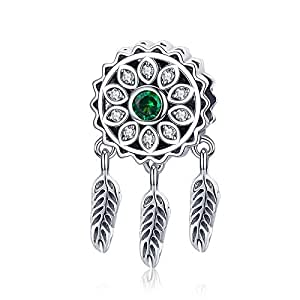 Sterling Silver with Green Stone Flower Dream Catcher Pendant for Pandora Bracelet & Necklace