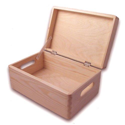 MidaCreativ Grande caisse de rangement en bois de pin avec couvercle et trous de poign/ée