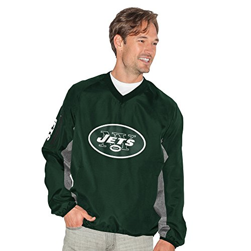 G-III Sports NFL New York Jets Adult Men Gridiron V-Neck Pullover, XX-Large, Green