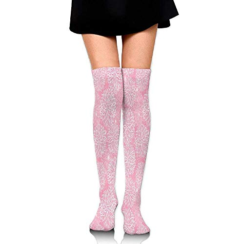 ZOZGETU Long Socks Cute Alluring Forms With Spots On Backdrop Love Valentines Concept Women's Fashion Over The Knee High Socks (65cm) (Short Alluring)