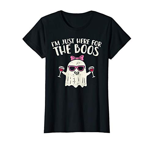 Womens Halloween Shirts For Women Im Just Here For The Boos Wine T-Shirt