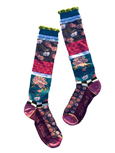 Dub & Drino France DRIN245 Ladies Knee High Socks Fun Funky Flowers Dots Stripes Collage, Rococo, One Size US 5/8.5 ()