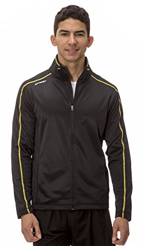 Embroidered Golf Windbreaker ((AL003) AeroSkin Dry Mens Performance Track in Black / Yellow Size:)