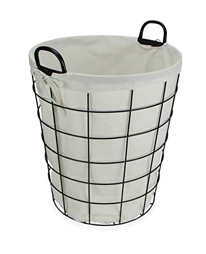 Cheung's 16S005 Lined Metal Wire Basket with handles, Black (Metal Small Handles With Baskets)