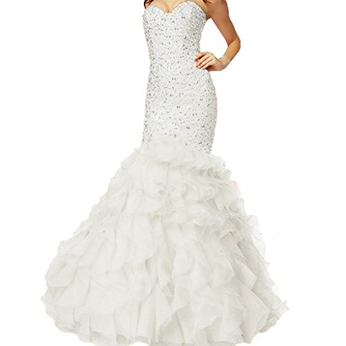 - Crystals Long Mermaid Ruffles Beaded Sweetheart Corset Formal Prom Evening Dresses White US 8
