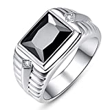 BONLAVIE Signet Ring May Birthstone Simulated Green Emerald Black Onyx Ring Rhodium Plating Solid 925 Sterling Silver Wedding Bands for Men Size 8