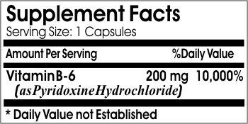 B-6 Vitamin 200mg * 200 Capsules 100 % Natural - by EarhNaturalSupplements