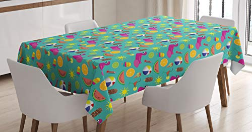 Lunarable Flamingo Cream Tablecloth, Digitally Generated Beach Icons Summer Season Necessities, Dining Room Kitchen Rectangular Table Cover, 52 W X 70 L Inches, Dark Seafoam and Multicolor