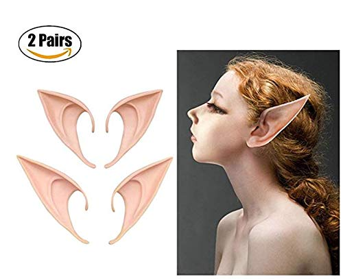 JAYSLE 2 Pairs Elves Ears Halloween Cosplay Party Demon Monster Goblin -