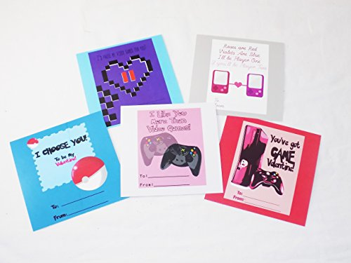 Video Gamer Themed Geeky Valentine's Day Cards with Stickers ()