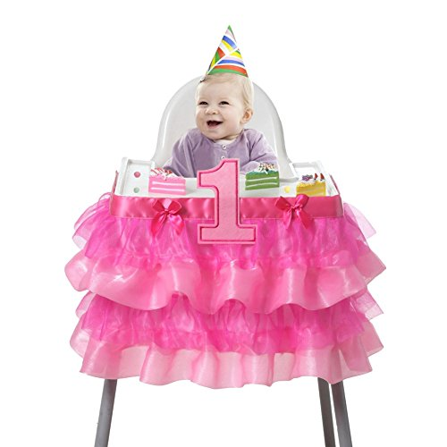 Smartcoco Baby 1st Birthday Deluxe High Chair Tulle Skirt Decoration Party Supplies,36.22