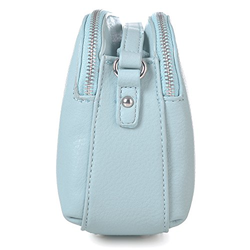 Leather Pale Pocketbook Purse Travel Bag Multi DAVIDJONES Faux Messenger Zipper Blue Medium Crossbody Shoulder Bag Women's HwaWCqU