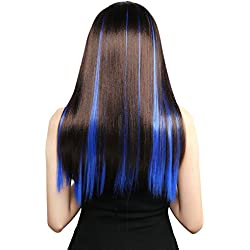 Neitsi 10pcs 18inch Colored Highlight Synthetic Clip on in Hair Extensions #F14 Blue