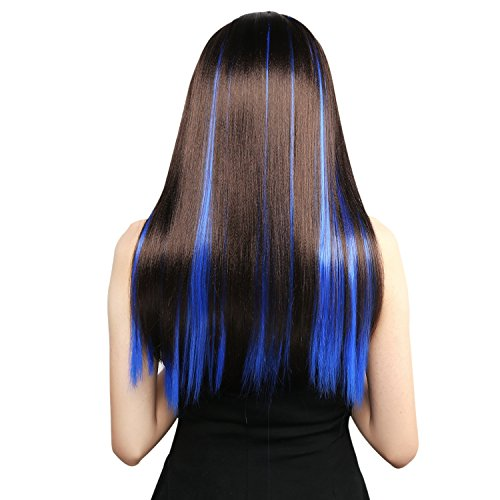 Neitsi 10pcs 18inch Colored Highlight Synthetic Clip on in Hair Extensions #F14 -