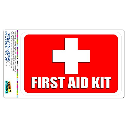 First Aid Kit SLAP-STICKZ(TM) Premium Laminated Sticker Sign