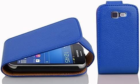 8eea3490fa5 Cadorabo Carcasa Compatible Con Samsung Galaxy Trend Lite Funda en Rey Azul  Funda Carcasa de Textura de Piel Sintética en FLIP CASE COVER Carcasa Funda